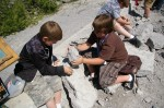 Two boys using ingenuity to search for fossils