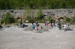 Kids busy at fossil hunting in the abandoned quarry